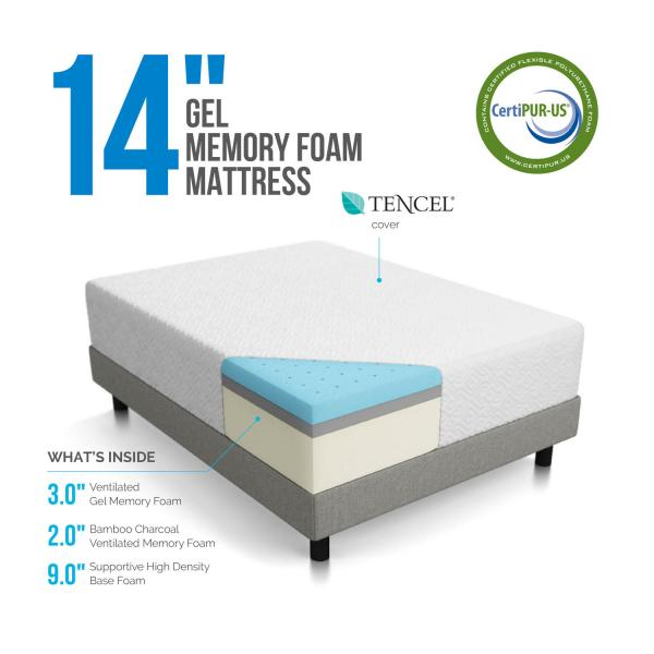 Lucid 14 Gel Memory Foam Mattress Reviews Goodbed Com