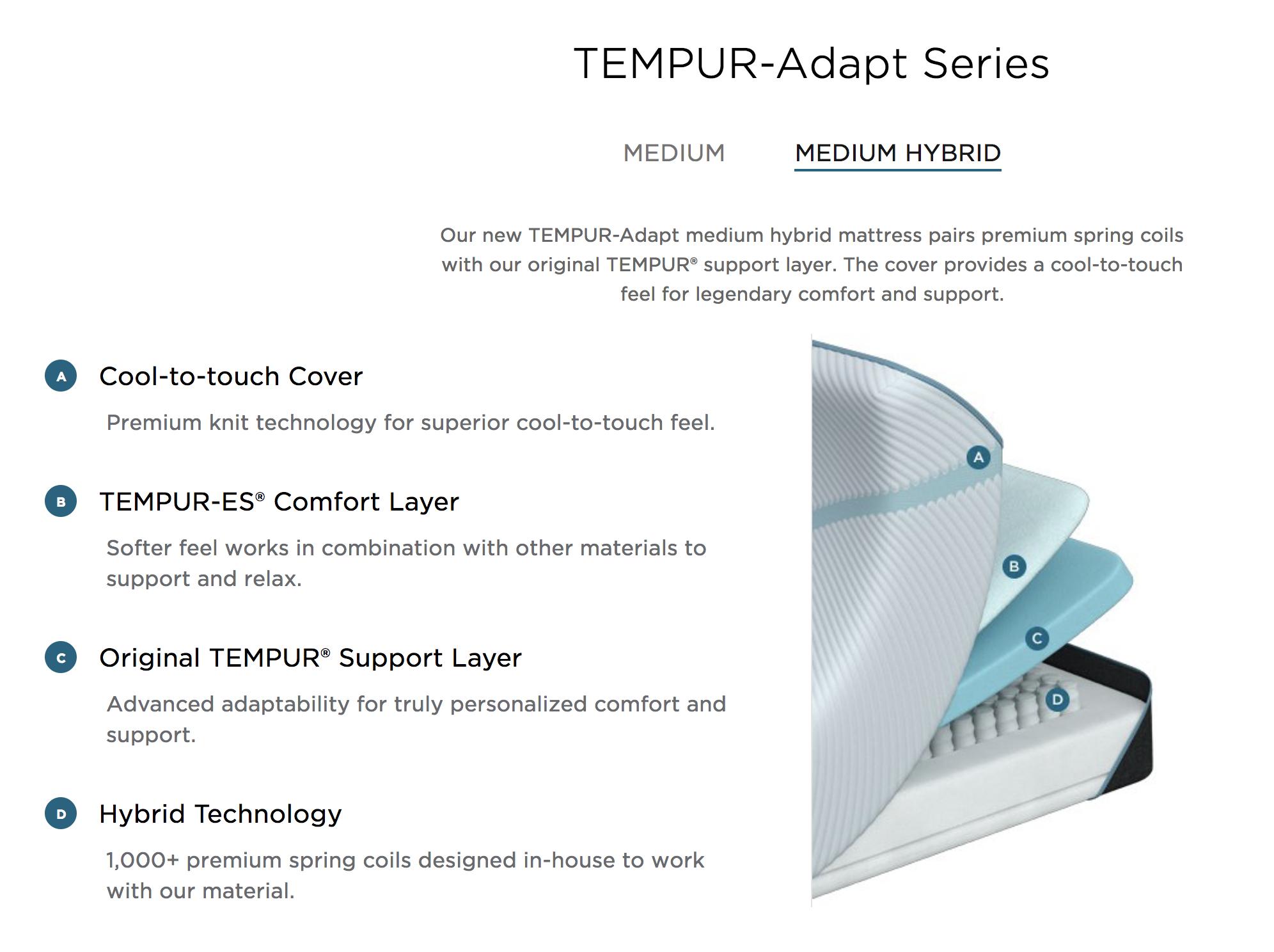 newest 0b4c1 caf9c TEMPUR-Adapt Hybrid Medium